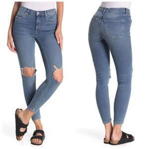Free People Ripped High Waist Skinny Jeans